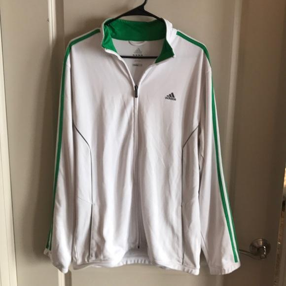 Adidas Jackets Coats Mens Track Jacket Whitegreen L Climalite